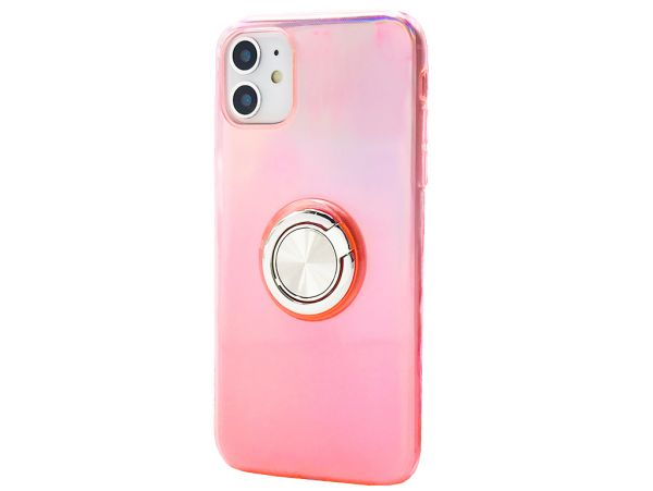 Силикон Neon+ring iPhone 11 light pink