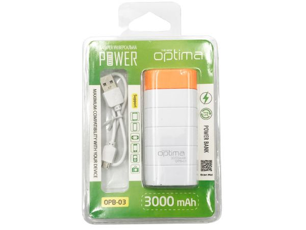 Power Bank Optima Promo OPB-3 1600mAh White/Orange