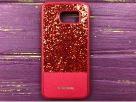 Case Leather+Shining Samsung S6 Red