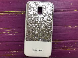 Case Leather+Shining Samsung J530 Silver