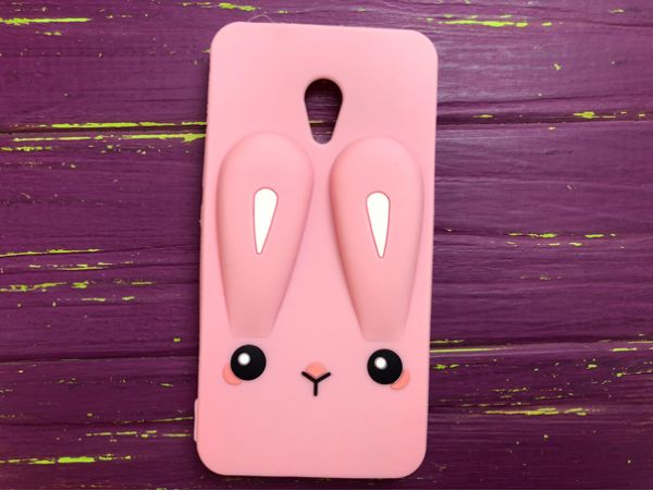 Чехол 3D RABBIT Meizu M6 Note Pink