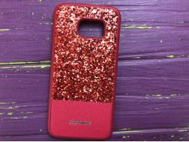 Case Leather+Shining Samsung S7 Red